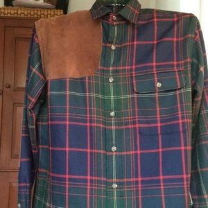 Polo Ralph Lauren imported wool plaid w/suede trim